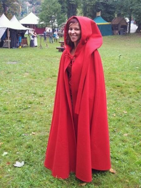 Mittelalterumhang aus Loden mit Kapuze, rot